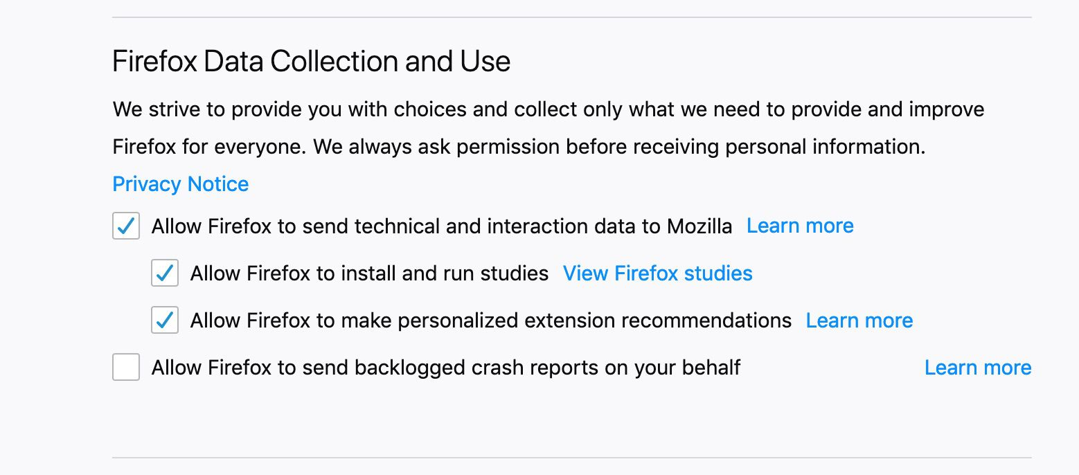 The Firefox Data Collection and Use section of Firefox Privacy & Security