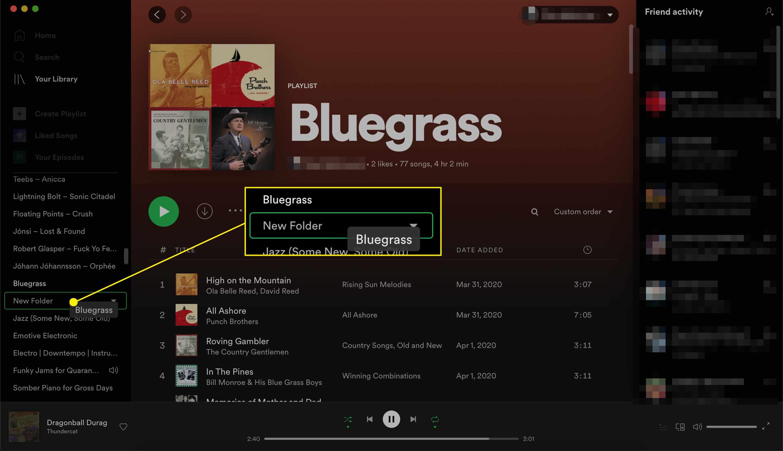 Spotify playlist add playlist to folder
