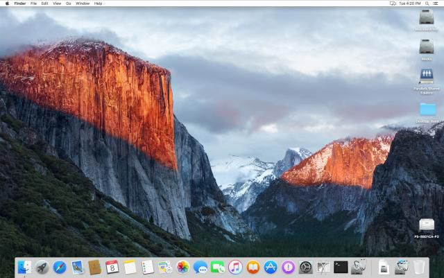 The Finder icon in the OS X El Capitan dock