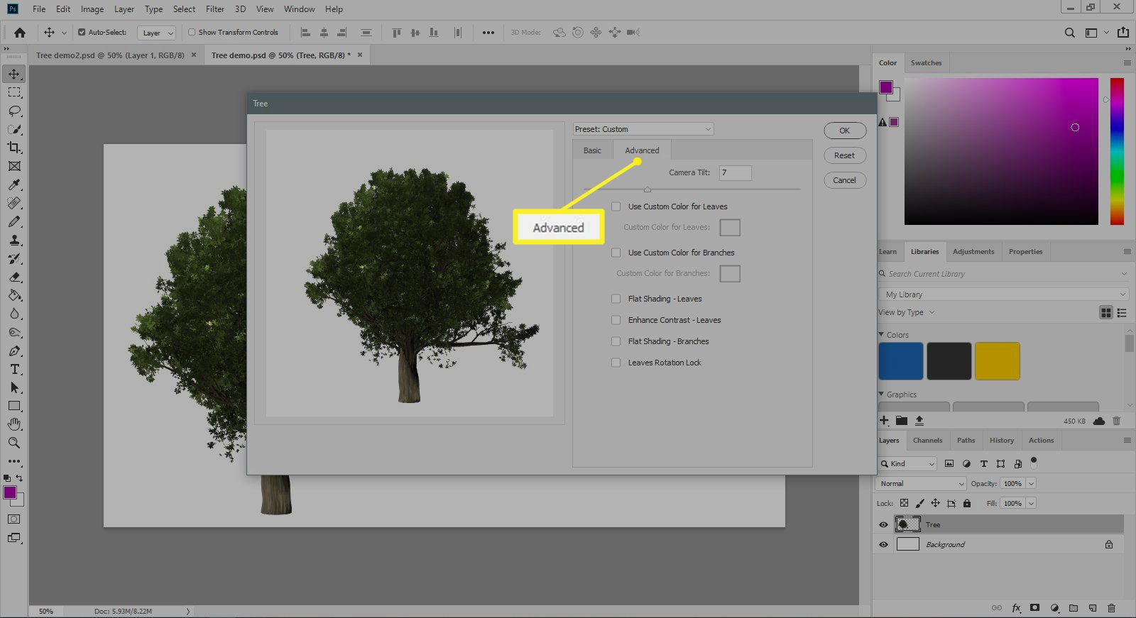 The Advanced tab of the Tree filter dialogue