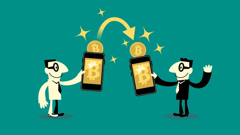 Cartoon of two businessmen trading BItcoin via smartphone software wallets