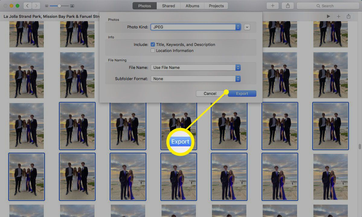 Screenshot of exporting pictures to new Photos library