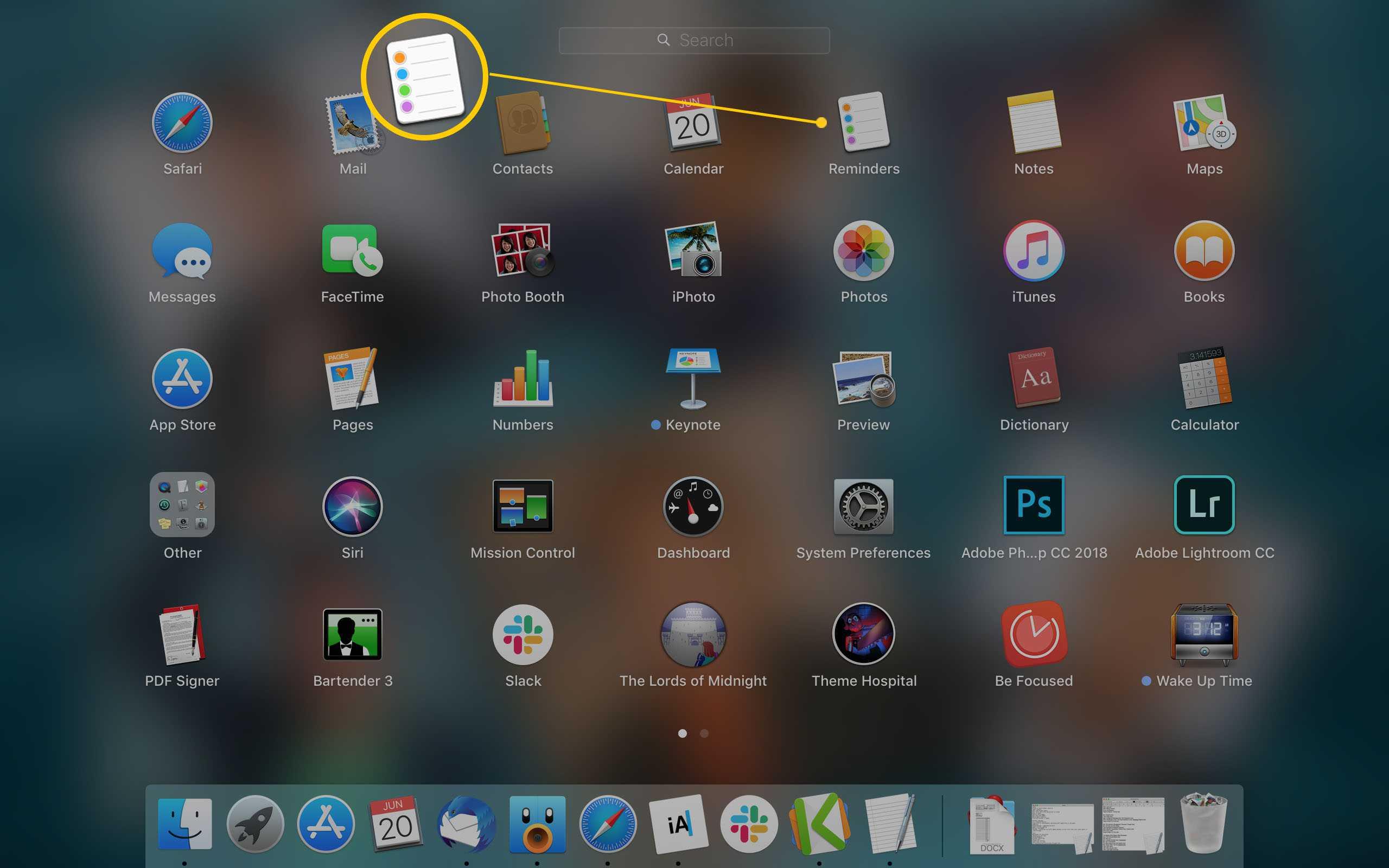 Mac Launchpad displaying Reminders