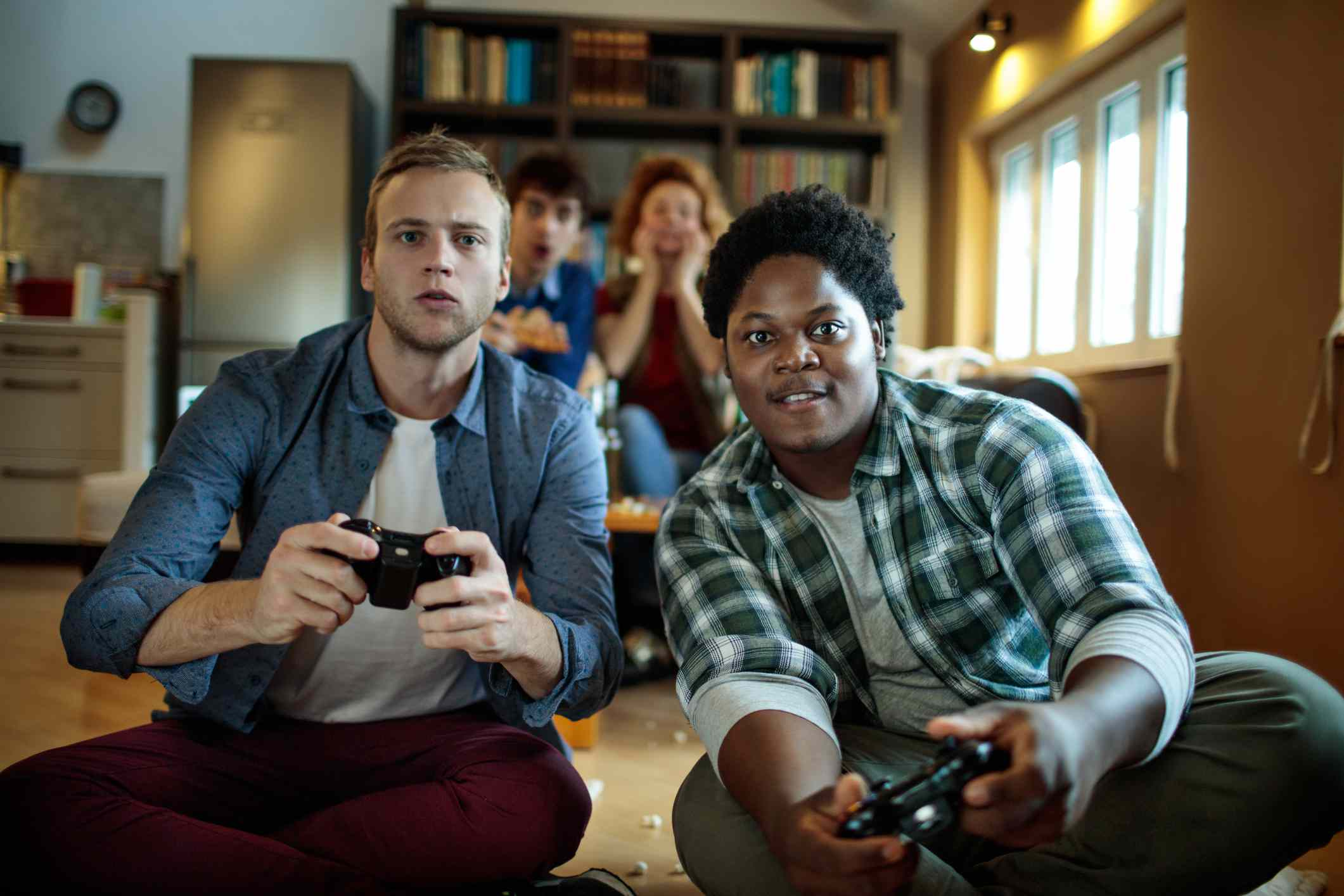 Students playing video game