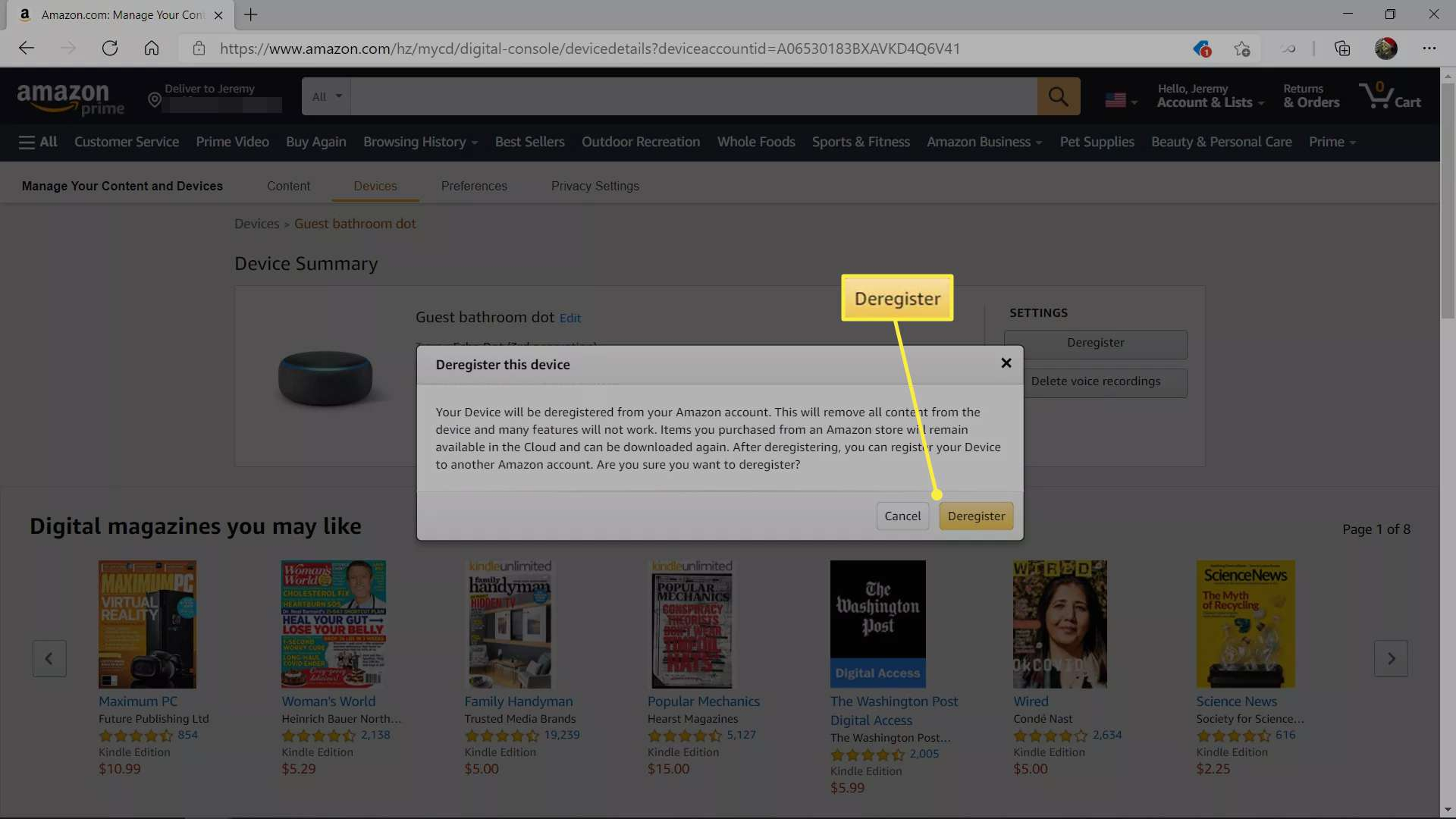 Deregister highlighted in the Amazon device deregister warning box.