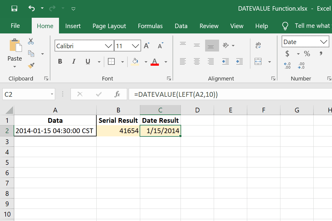 DATEVALUE and LEFT Excel functions used together