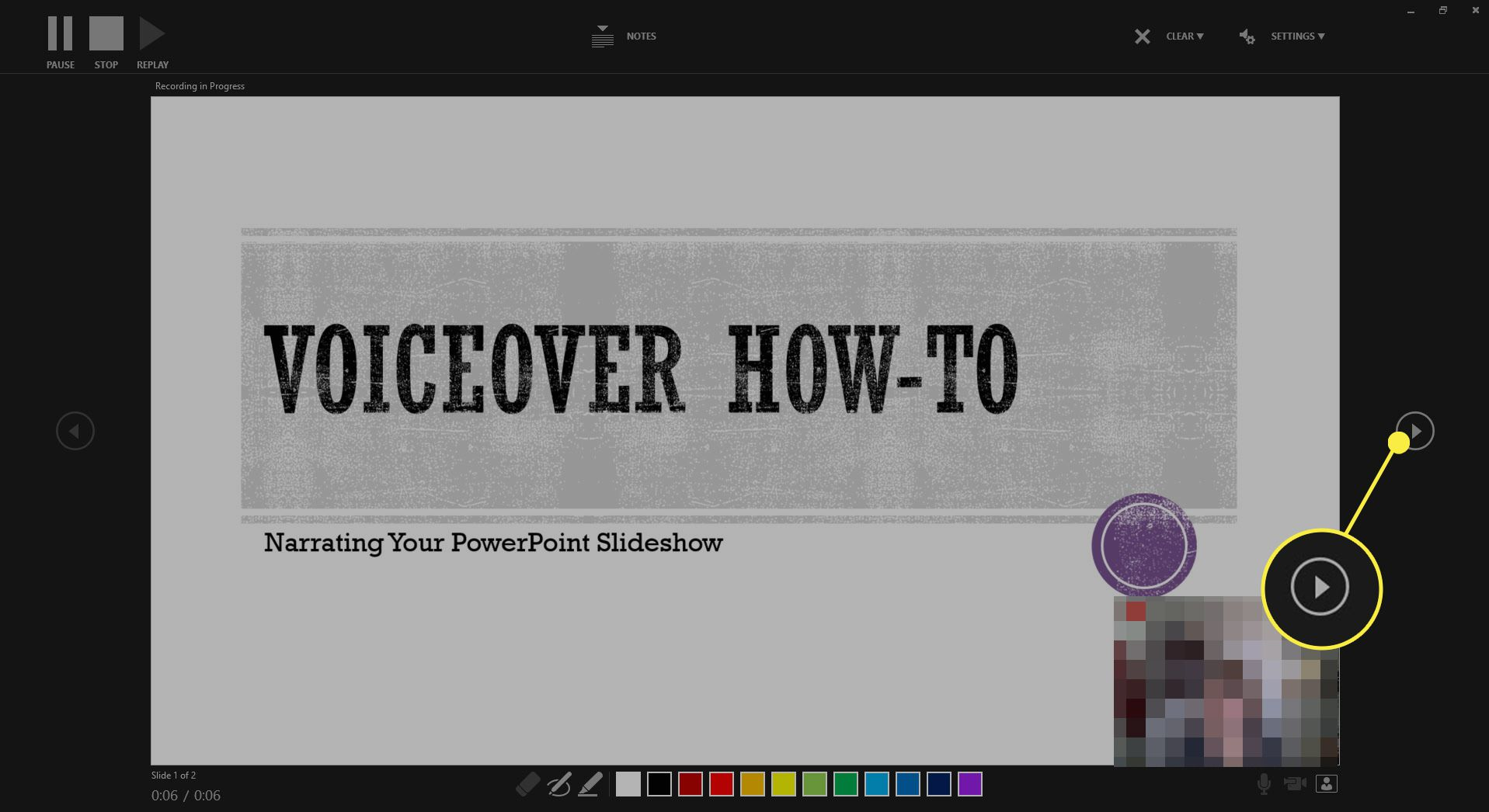 Screenshot showing how to advance a slide while recording a slideshow in PowerPoint.
