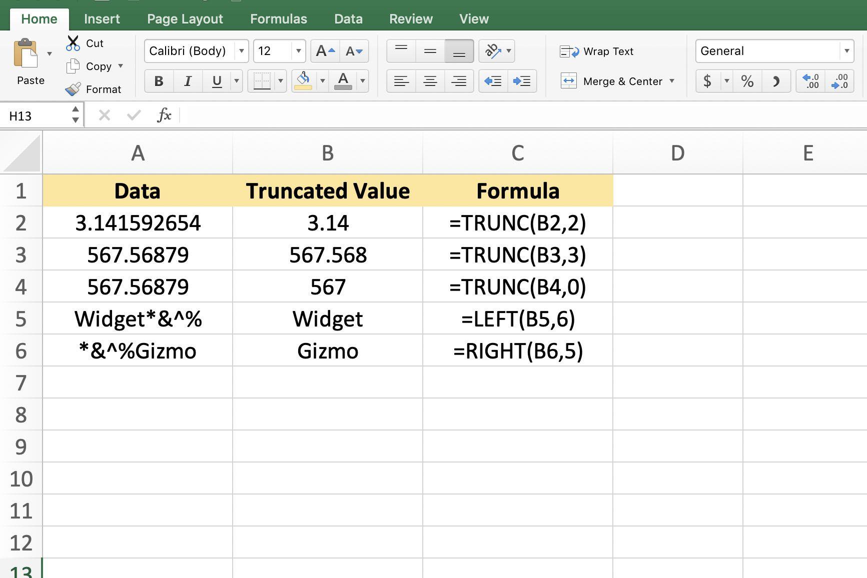 Screenshot of truncating in Excel