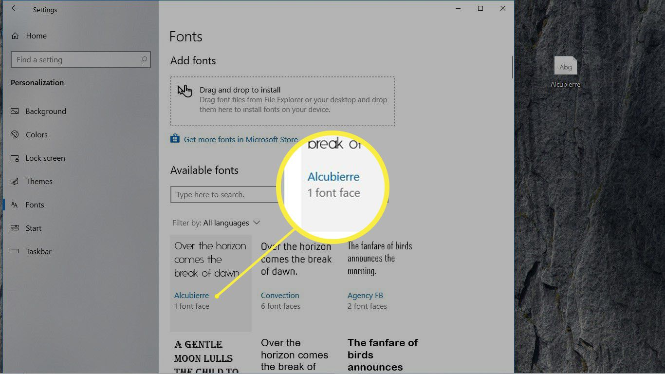 An available font is highlighted in the Fonts preference pane in Windows 10.