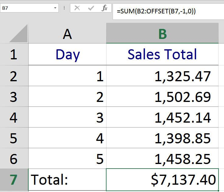 Excel SUM and OFFSET Formula