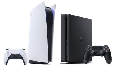 PlayStation 5 and PlayStation 4 console aligned side-by-side.
