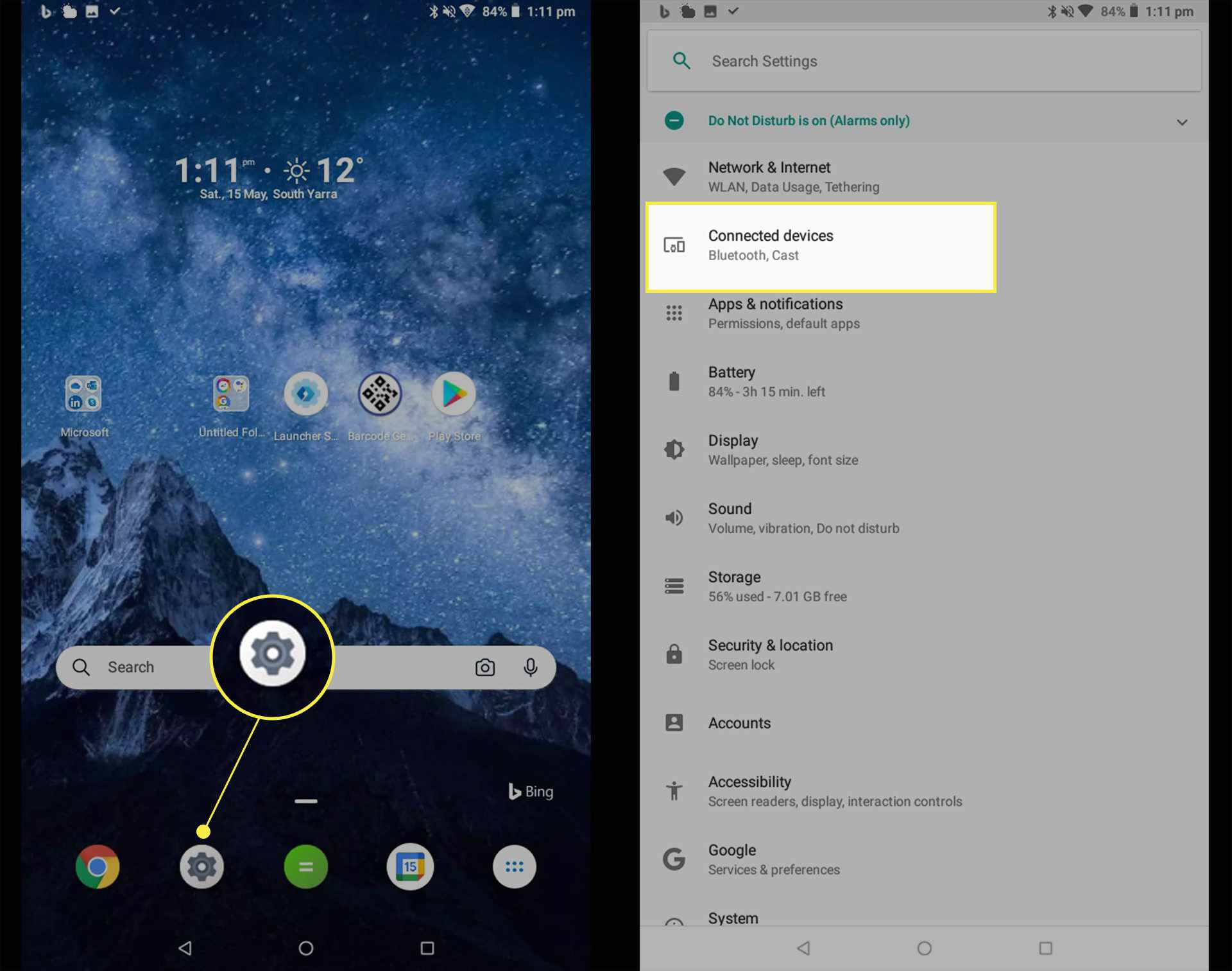 Android settings and connected devices highlighted