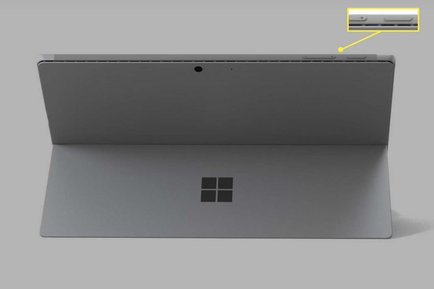 A Microsoft Surface Pro shown from the rear with Power and Volume Up buttons visible.