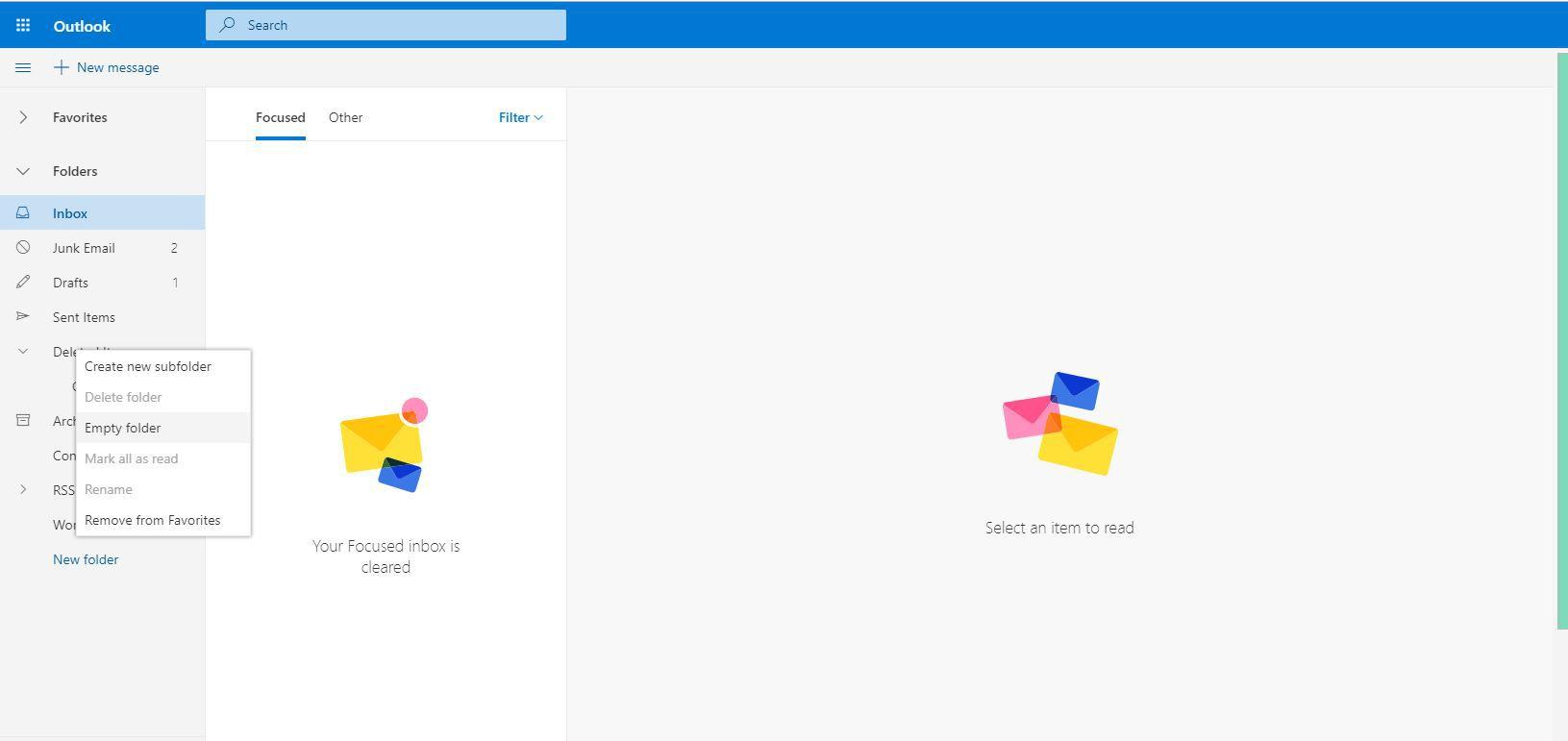 Screenshot of right-click menu showing Empty Folder