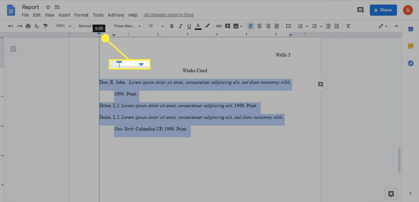 The location of the First Line Indent and the Left Indent sliders in a hanging indent on Google Docs.