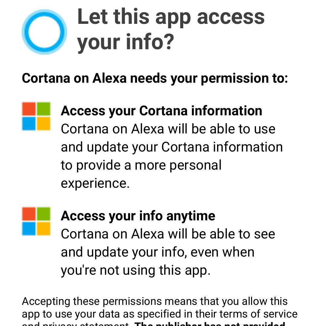 Screenshot of Cortana on Alexa permissions approval request in Alexa Android app.