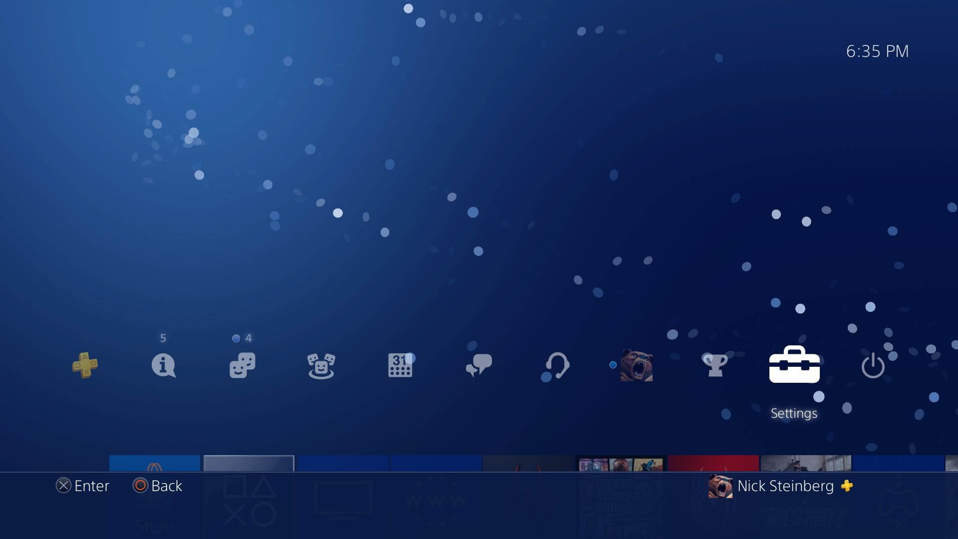 Selecting Settings on the PS4 dashboard.