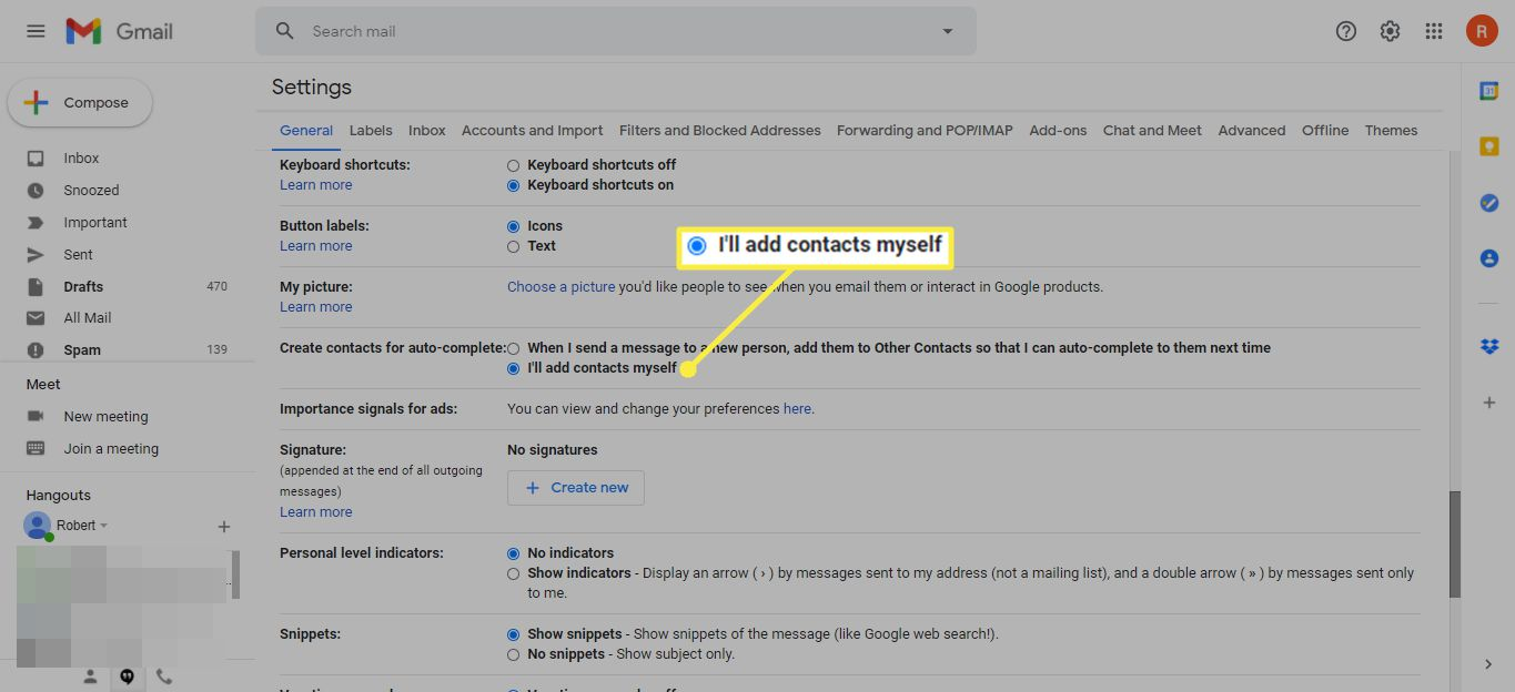 I'll add contacts myself in Gmail Settings