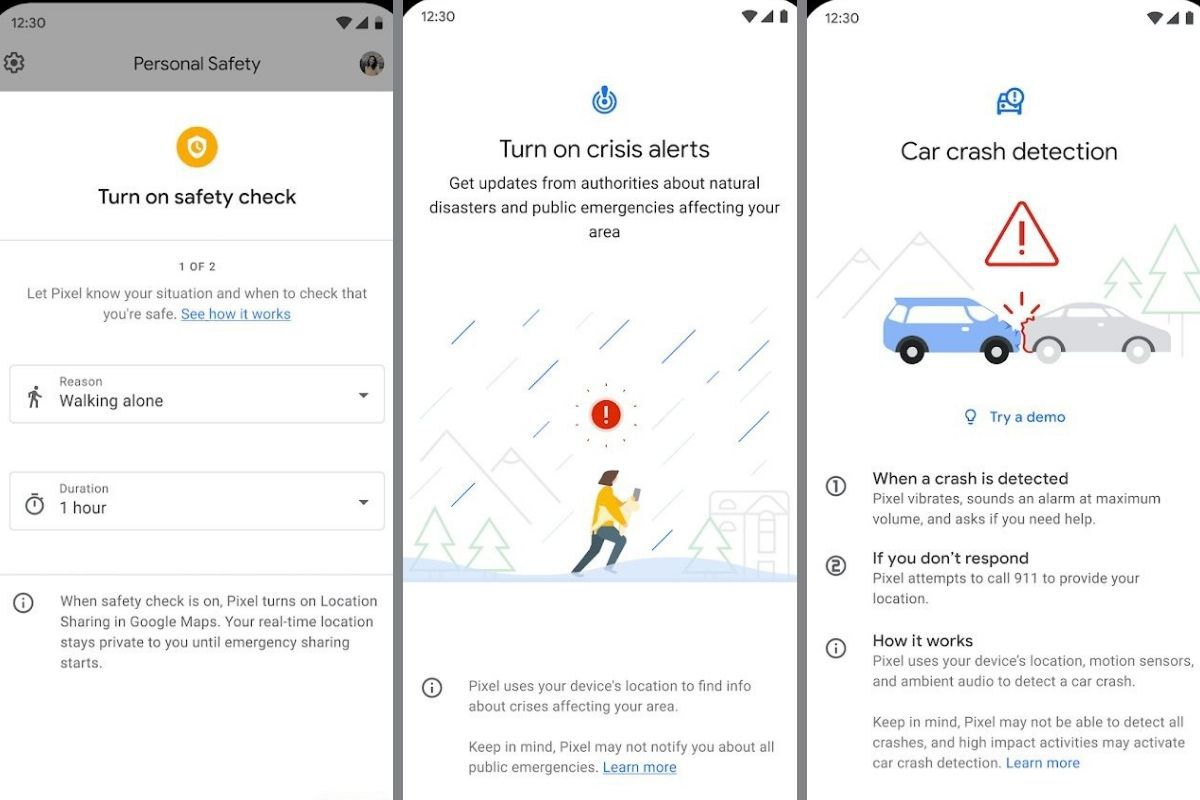 Google Personal Safety screens.