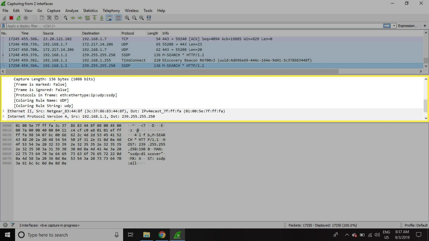 A screenshot of Wireshark with the Packet Details pane highlighted