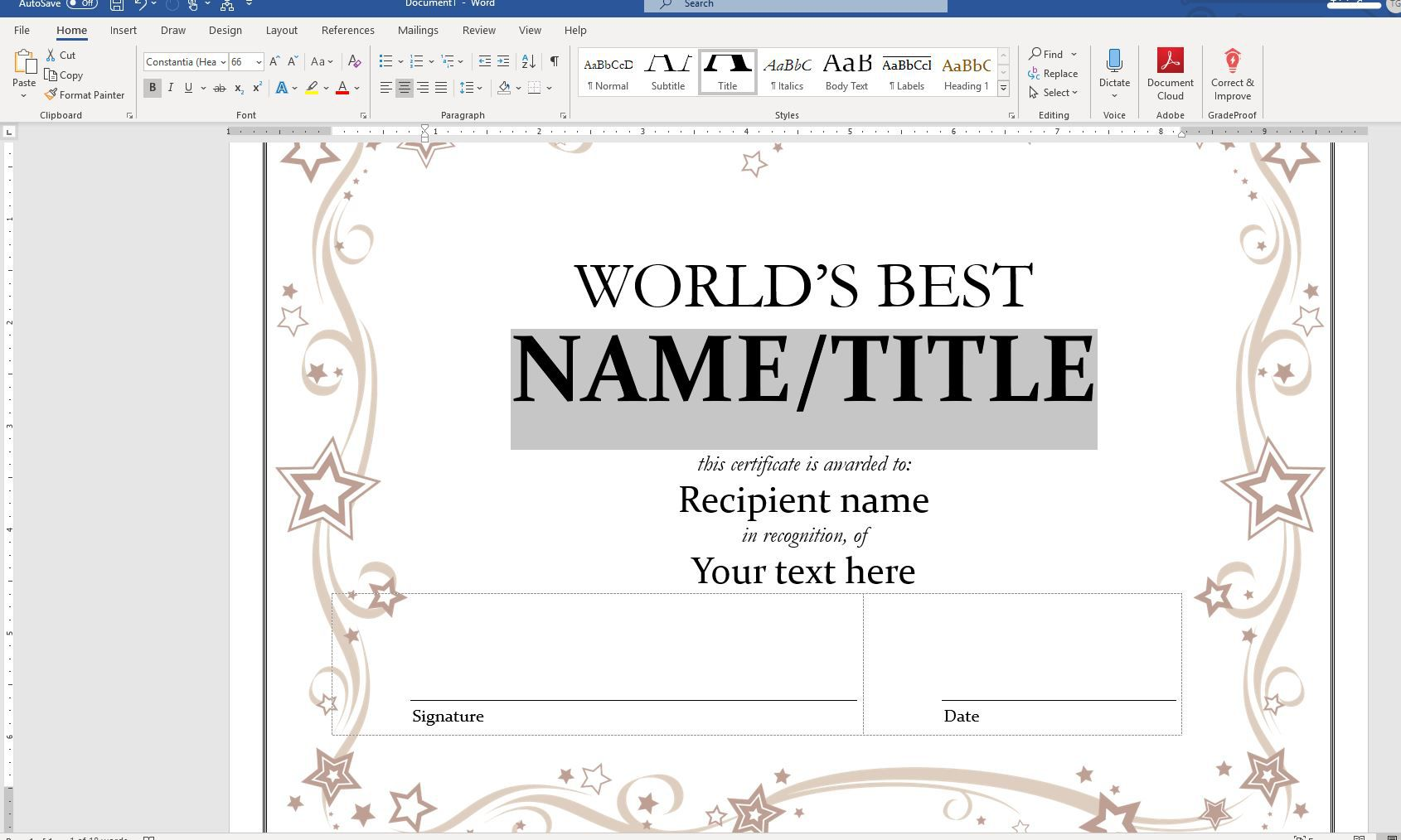 Screenshot of selected sample text on Home tab in Word
