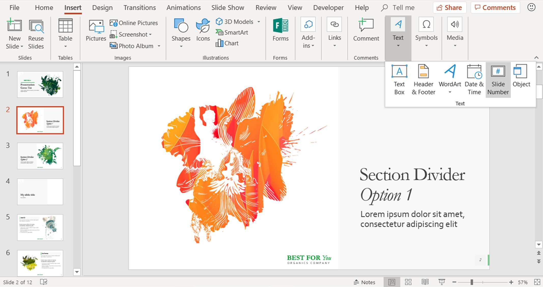 A screenshot showing where to find the slide numbers in PowerPoint