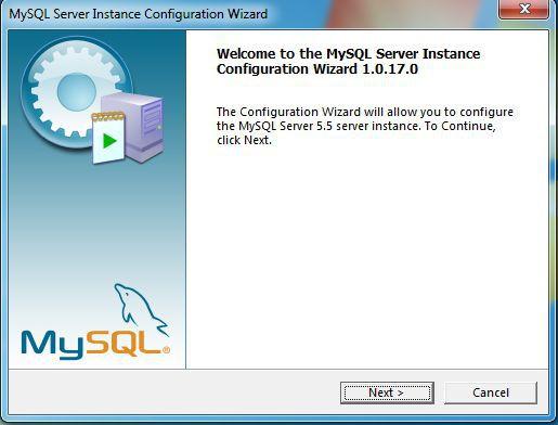 MySQL welcome screen
