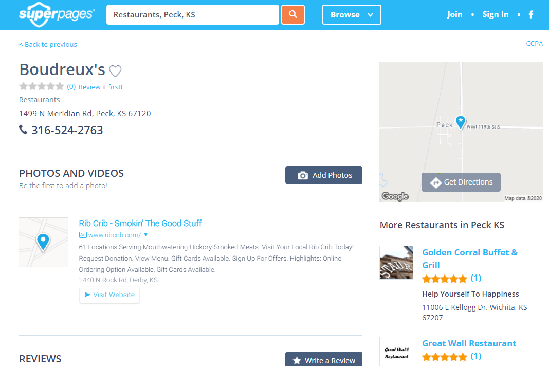Superpages restaurant search