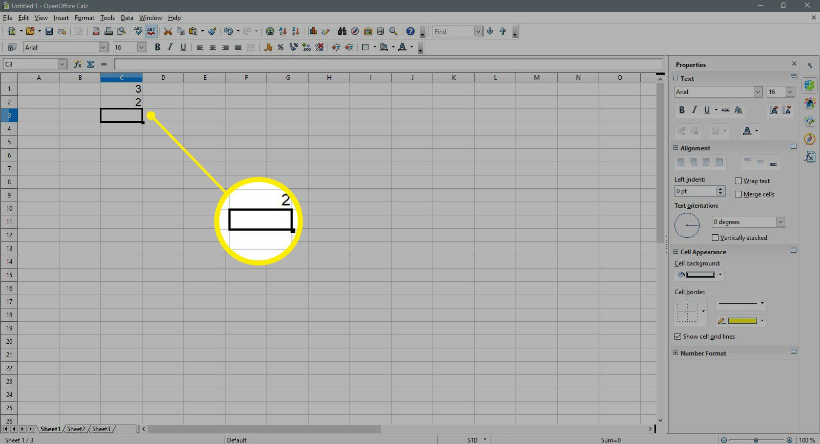 Selecting a cell to enter a formula in OpenOffice Calc.