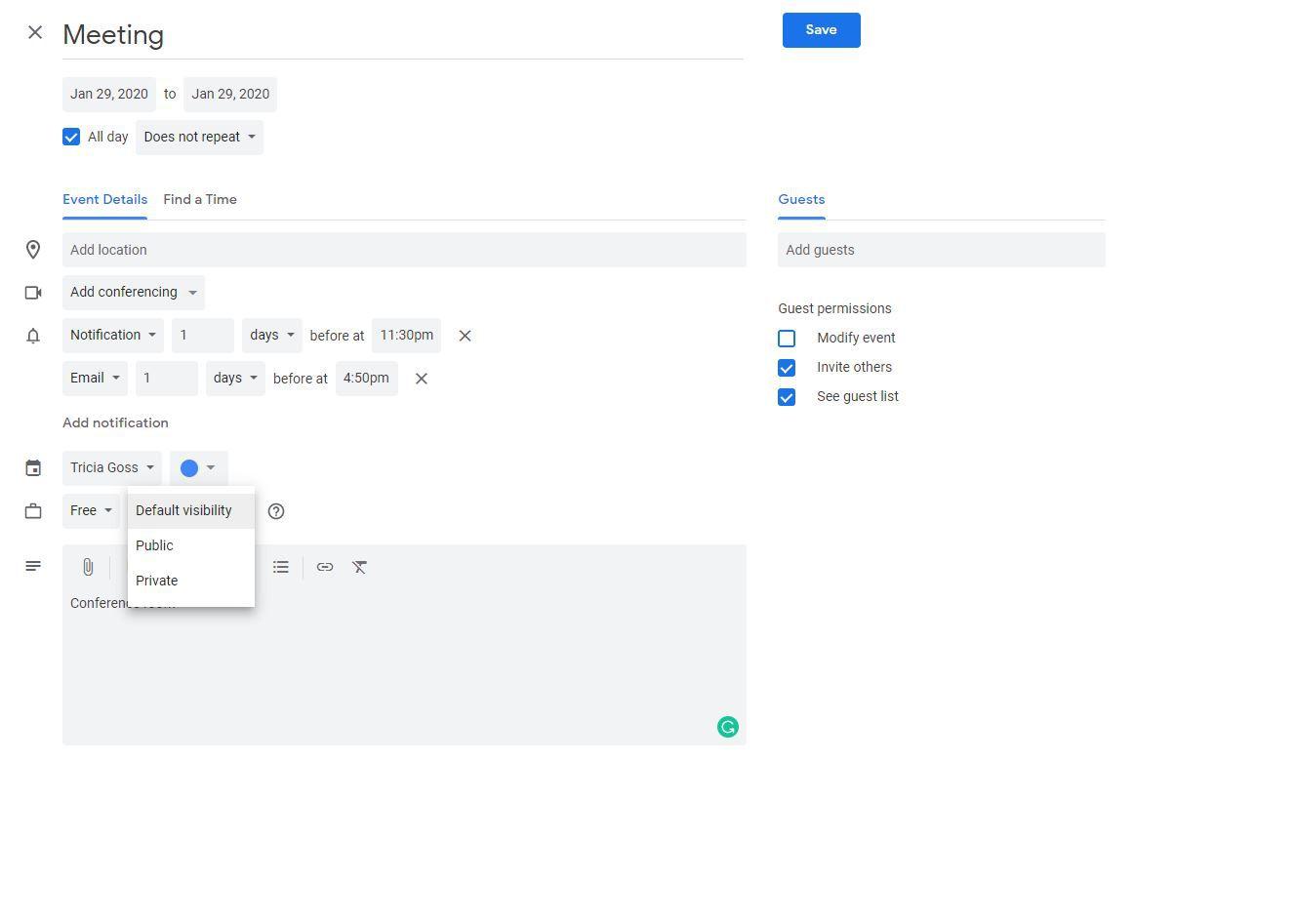 Screenshot of Privacy options in Google Calendar event