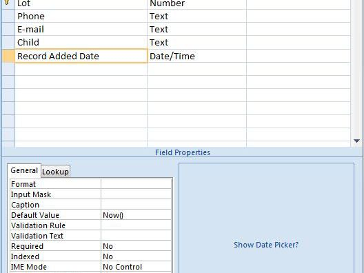 Adding a Date Time Stamp to a Database Table in Access
