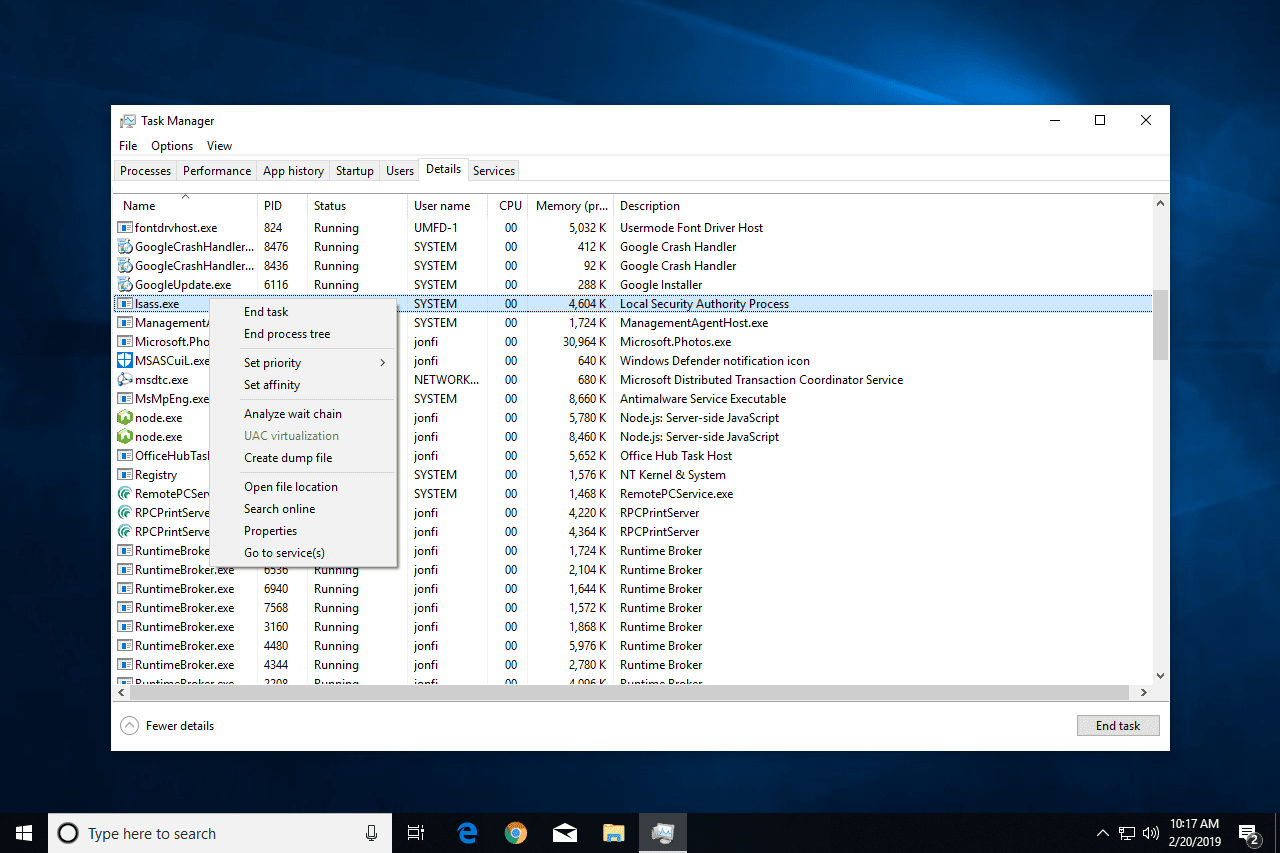 Lsass.exe Task Manager options