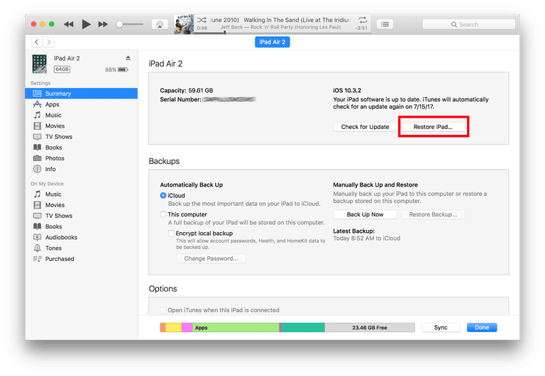How to Restore an iPad to Factory Default Using iTunes
