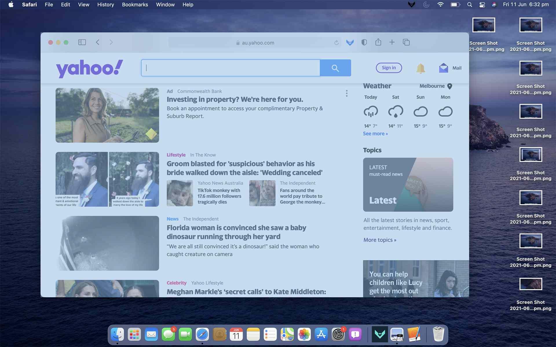 A window screenshot being taken on Mac.