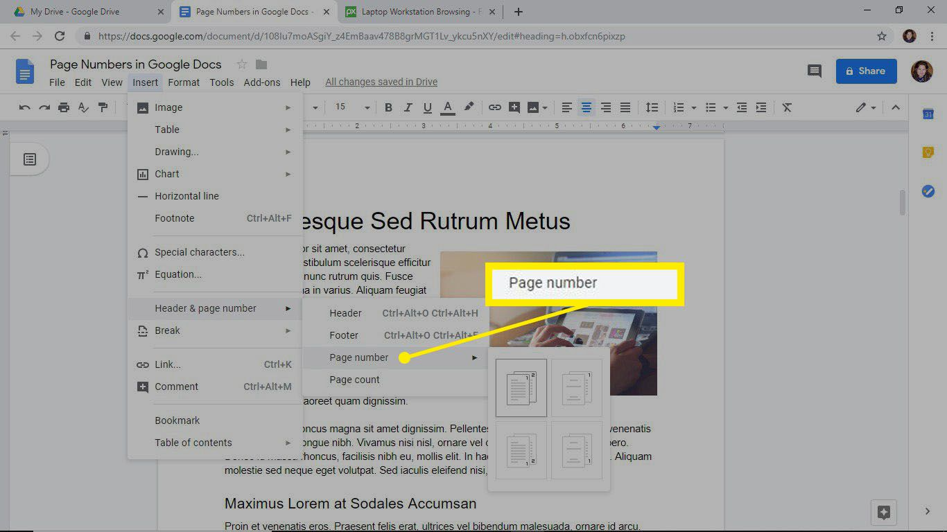 Insert a page number in a Google Docs document