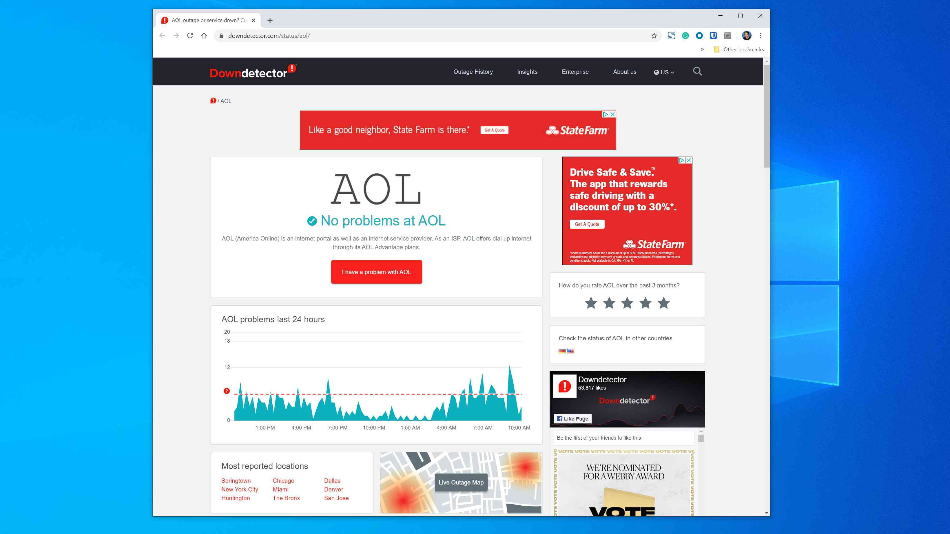 Downdetector.com showing the status of AOL