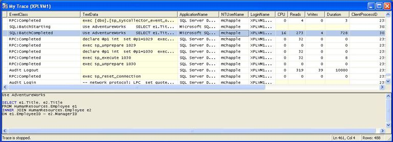SQL Server profiler trace screenshot
