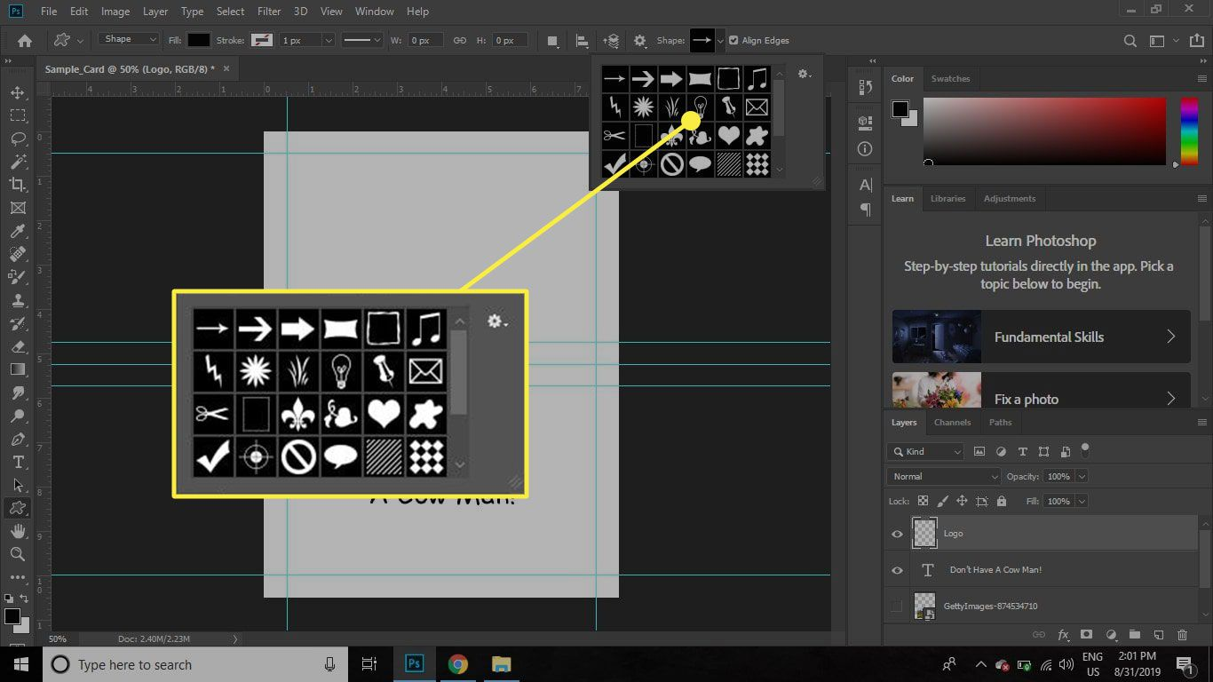 A screenshot of Photoshop with the Shape Tool options highlighted