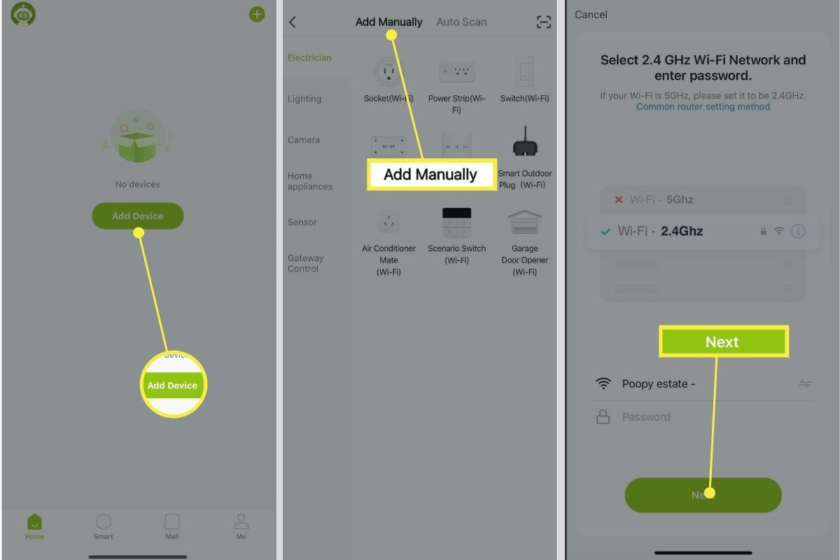Add Device > Add Manually > Next adding smart plugs to your Gosund app.