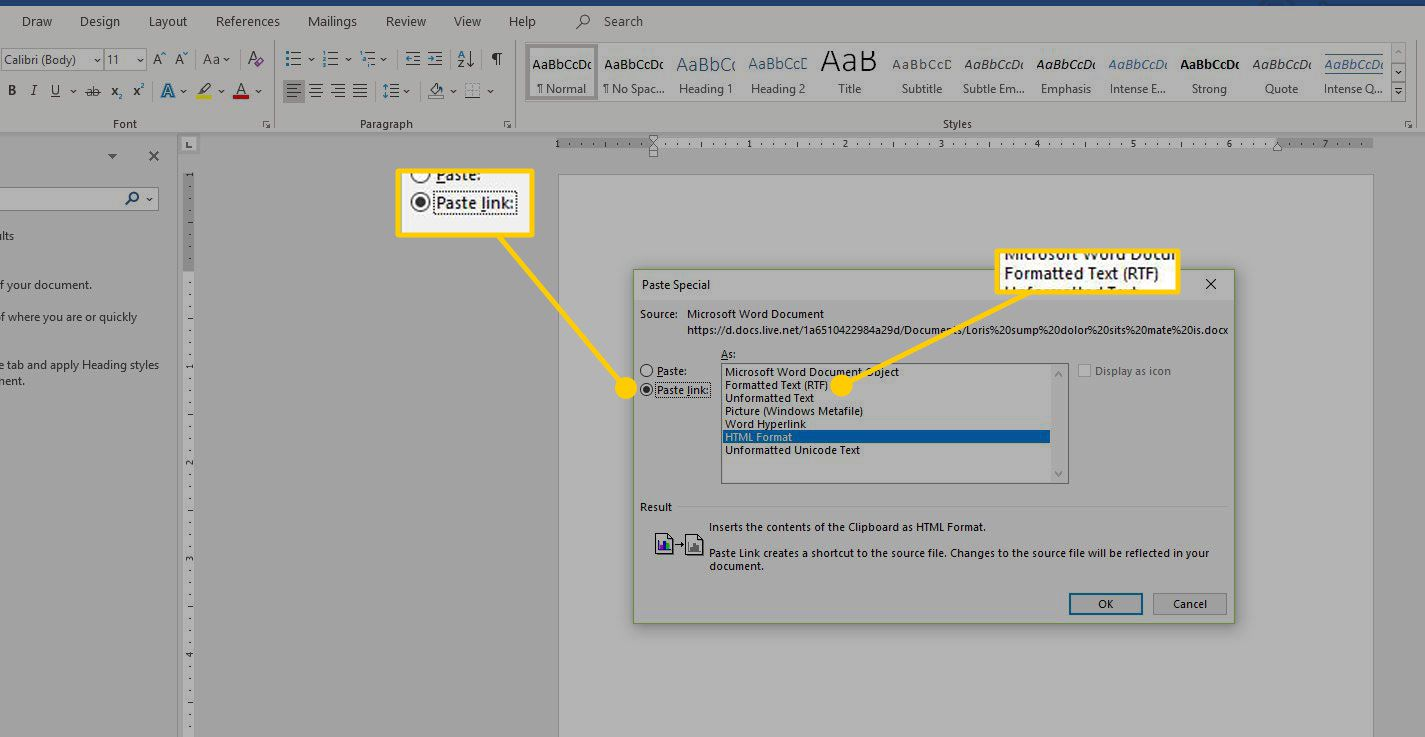 Paste Special menu in Word with the Paste Link and Formatted Text options highlighted