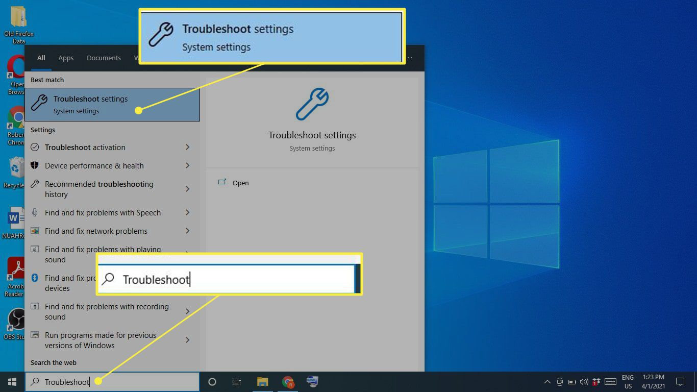 Troubleshoot settings in the Windows 10 search bar