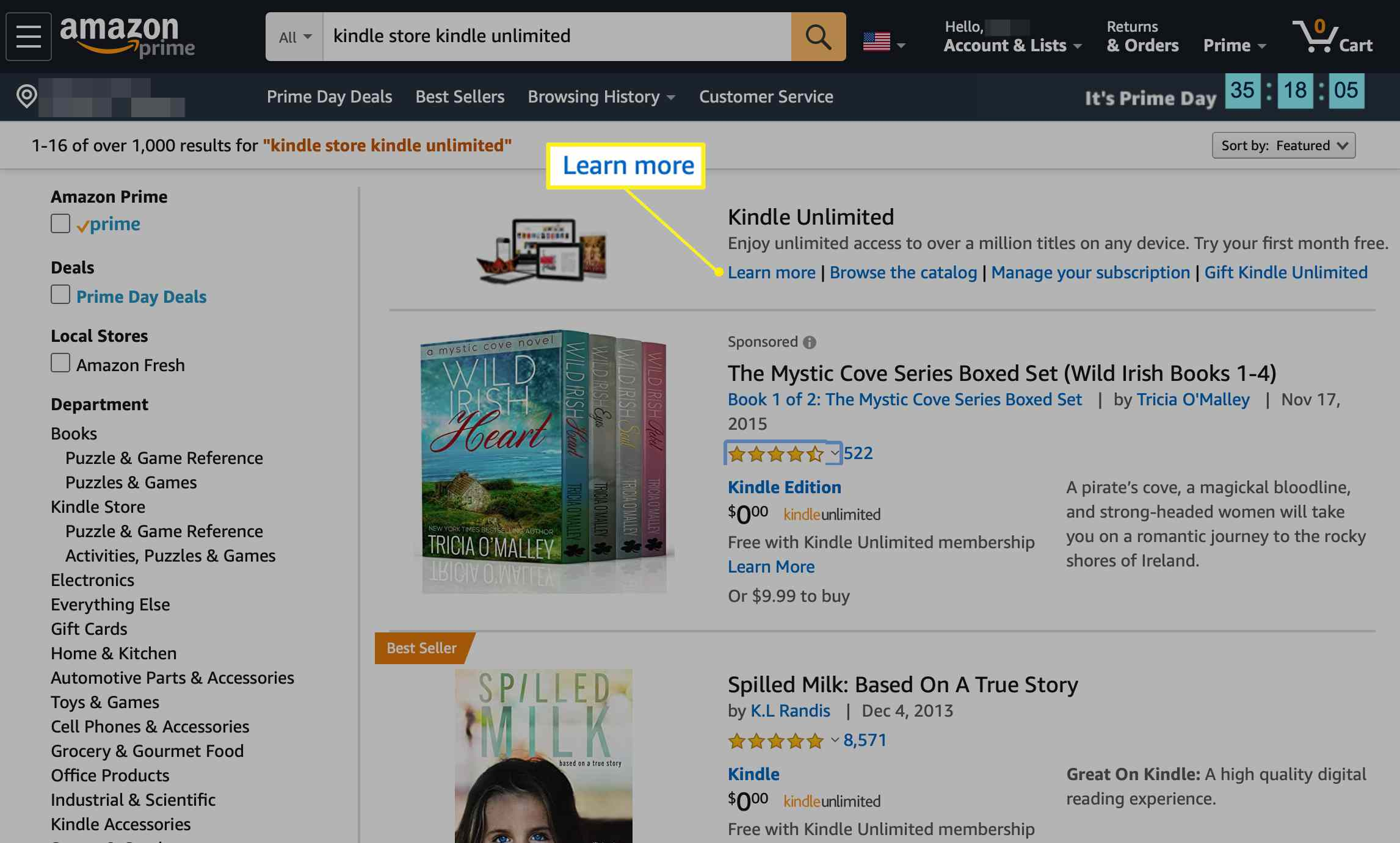 Amazon.com with Learn more selected in the Kindle Unlimited section