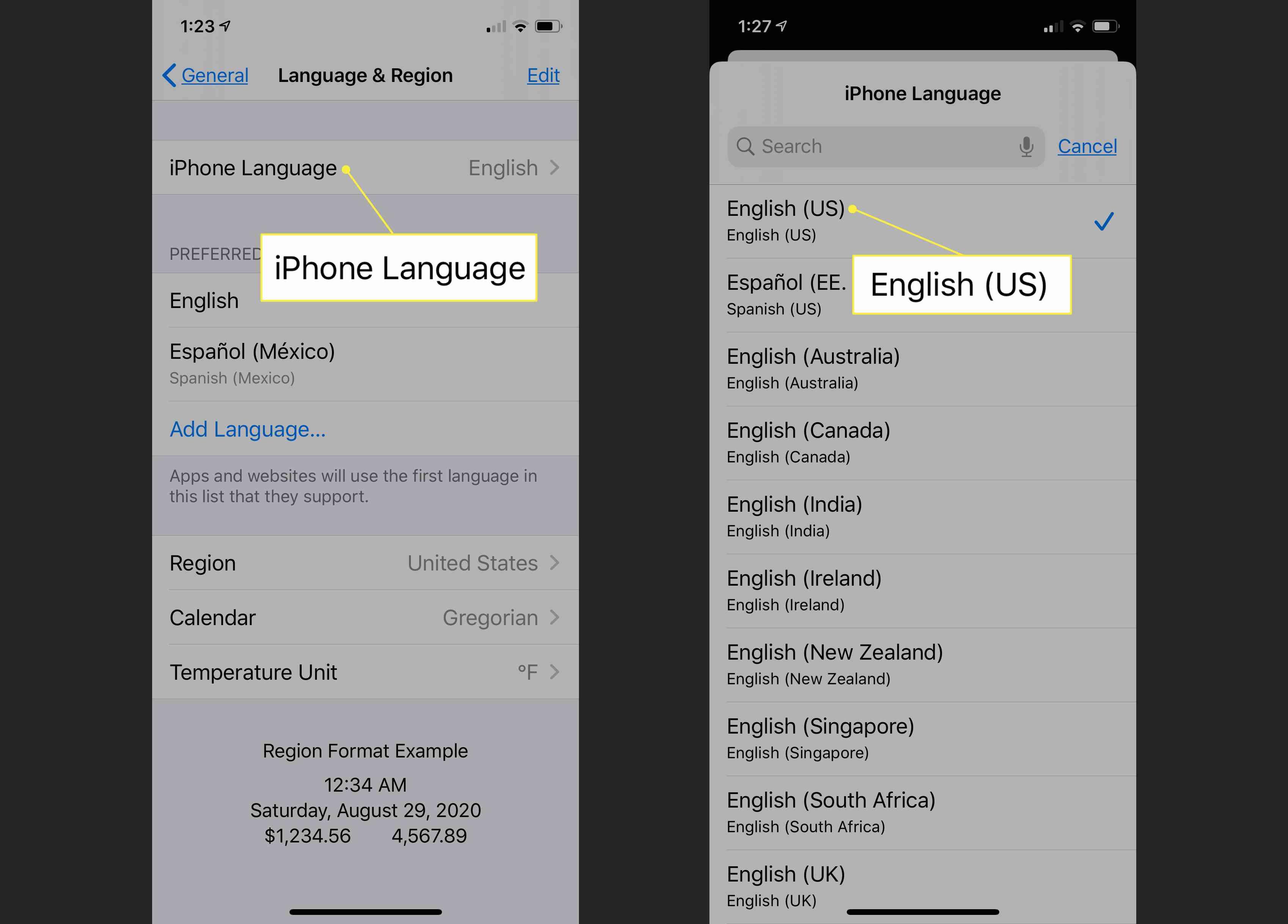 English (US) setting in iOS