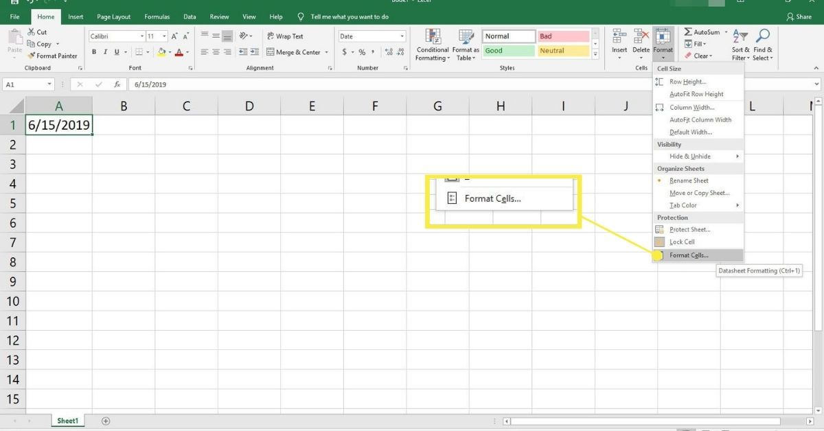 Selecting Format in Excel.