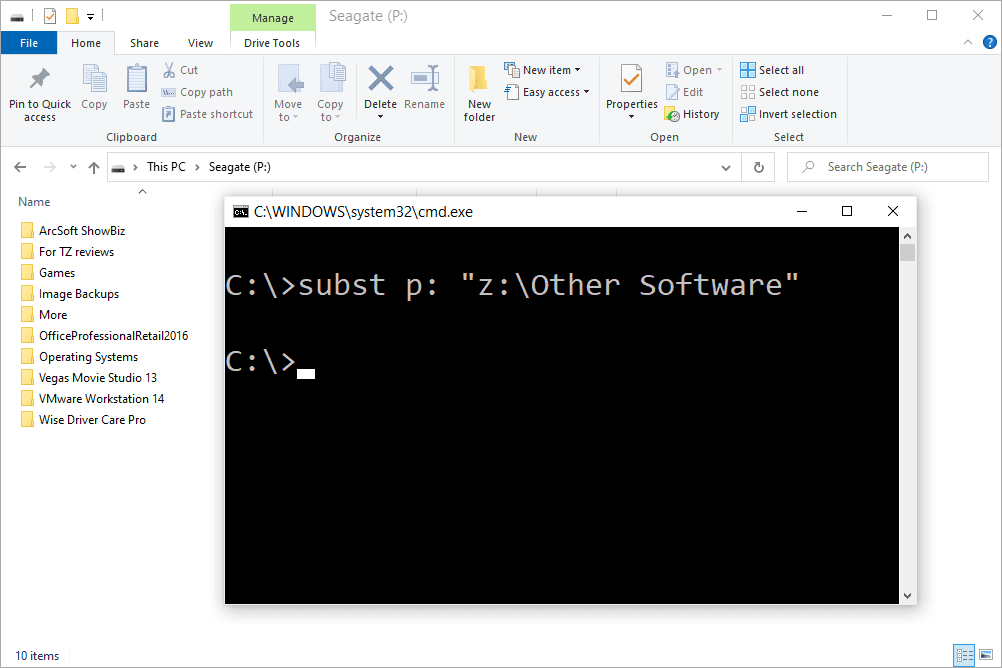 subst command mapping a local folder to a network-like drive