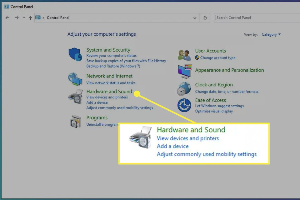 Hardware and Sound highlighted from the Windows 10 Control Panel.