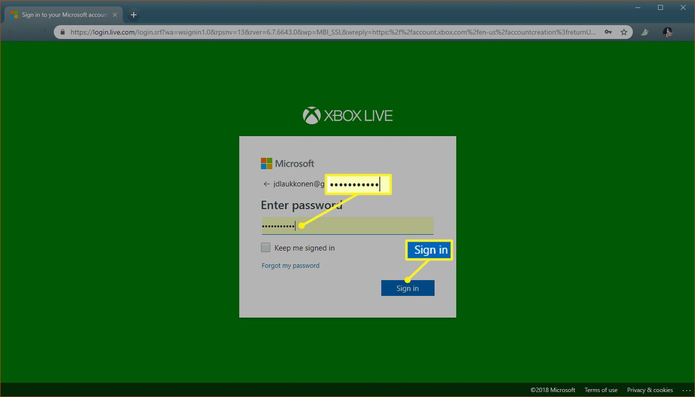 Xbox.com sign in process with password filled in