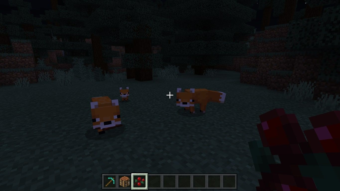 A Fox Family in Minecraft