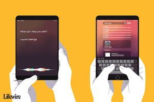 Hands holding two iPads, one that is asking Siri to launch settings, the other typing in Settings into the search bar
