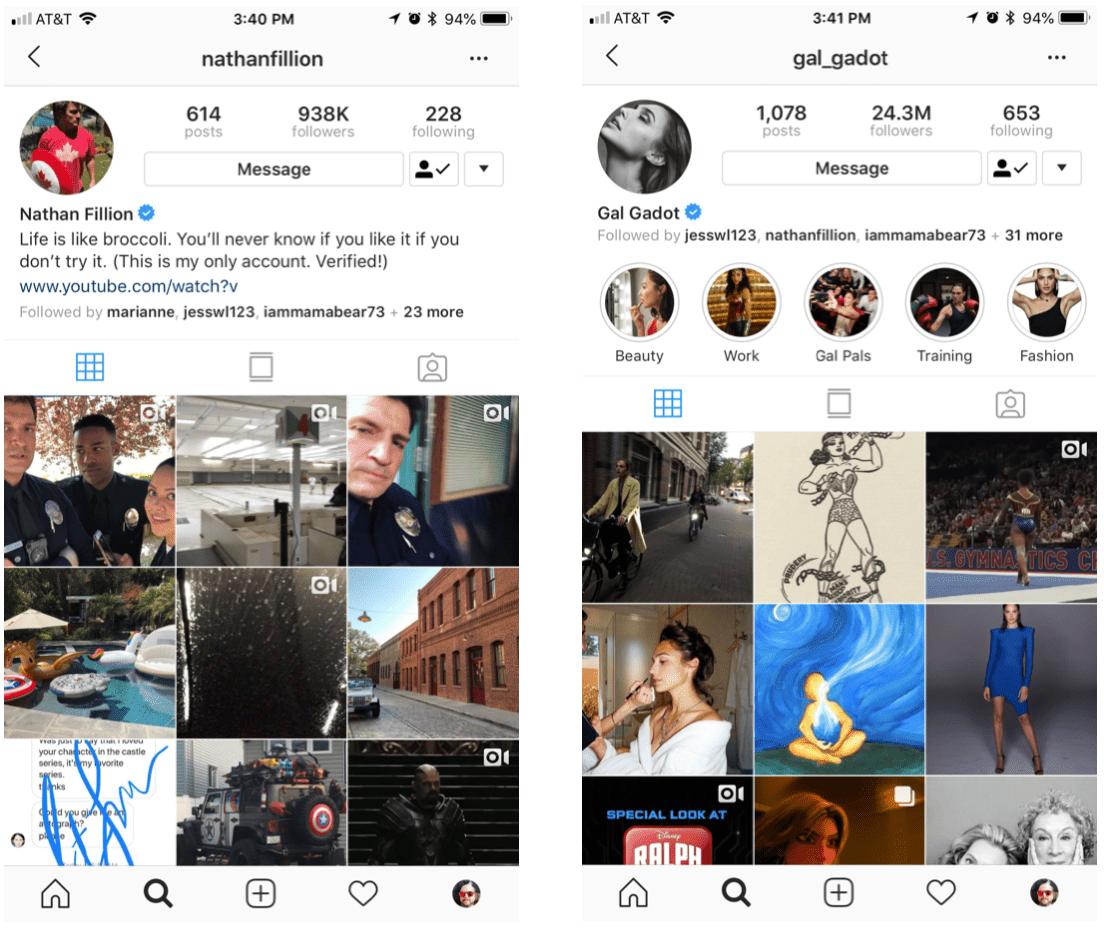 Screenshot of Instagram accounts of Nathan Fillion and Gal Gadot